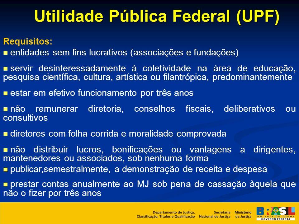 Utilidade Pública Federal (UPF) Requisitos: entidades sem fins lucrativos (associações e fundações) servir desinteressadamente à coletividade na área