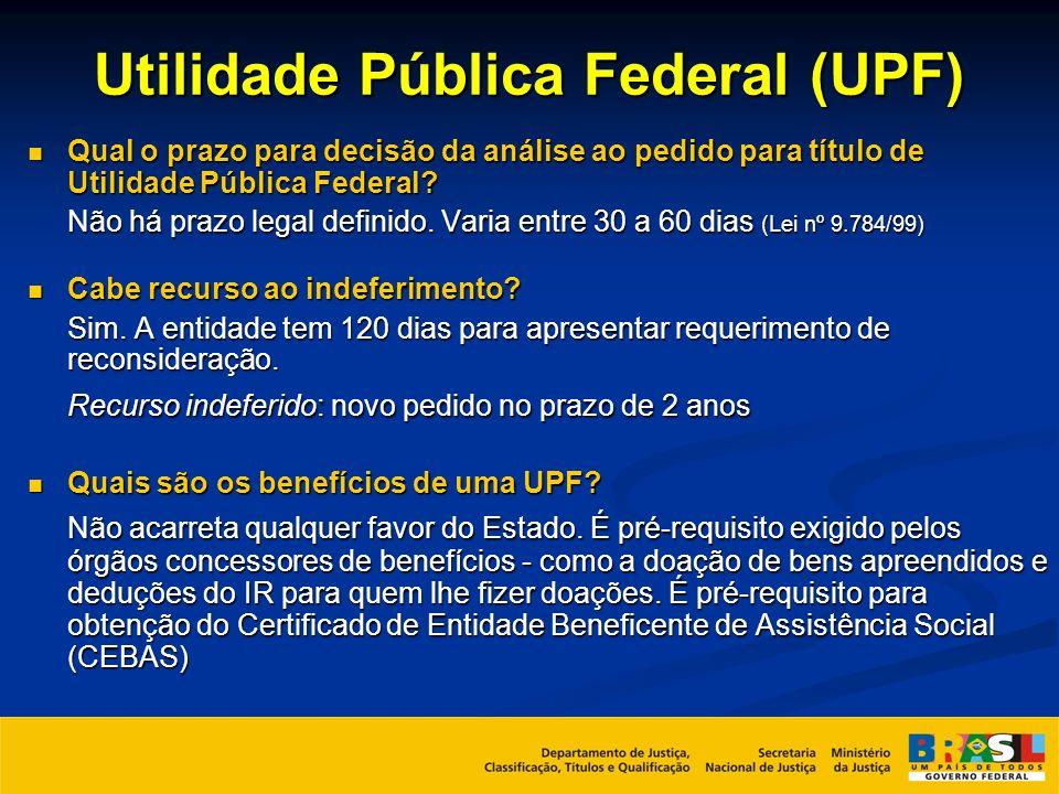 Utilidade Pública Federal (UPF) Qual o prazo para decisão da análise ao pedido para título de Utilidade Pública Federal? Qual o prazo para decisão da