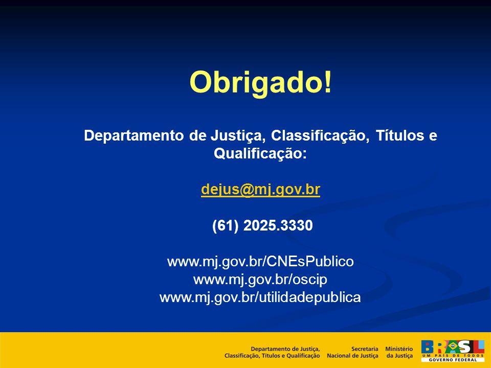 Obrigado! Departamento de Justiça, Classificação, Títulos e Qualificação: dejus@mj.gov.br (61) 2025.3330 www.mj.gov.br/CNEsPublico www.mj.gov.br/oscip