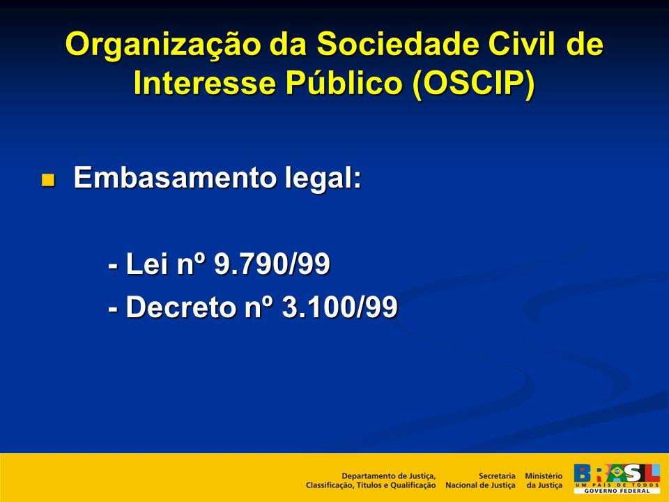 Organização da Sociedade Civil de Interesse Público (OSCIP) Embasamento legal: Embasamento legal: - Lei nº 9.790/99 - Decreto nº 3.100/99