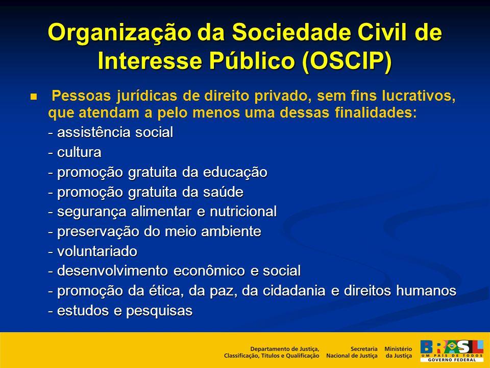 Organização da Sociedade Civil de Interesse Público (OSCIP) Pessoas jurídicas de direito privado, sem fins lucrativos, que atendam a pelo menos uma de