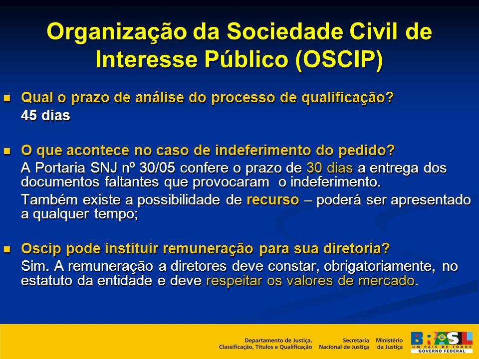 Organização da Sociedade Civil de Interesse Público (OSCIP) Qual o prazo de análise do processo de qualificação? Qual o prazo de análise do processo d