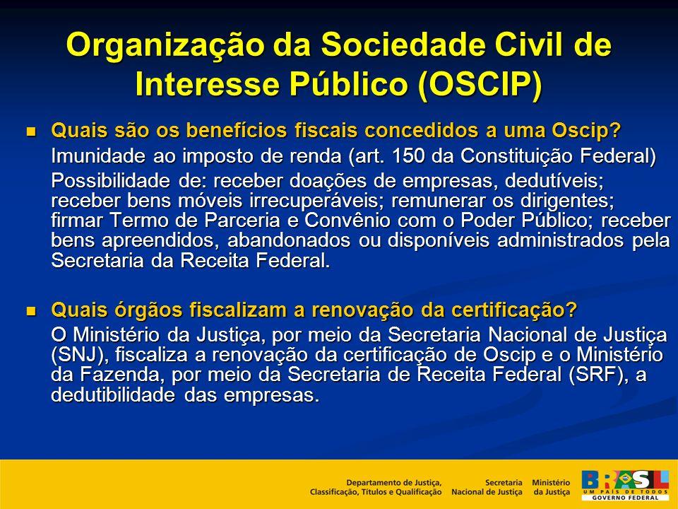 Organização da Sociedade Civil de Interesse Público (OSCIP) Quais são os benefícios fiscais concedidos a uma Oscip? Quais são os benefícios fiscais co