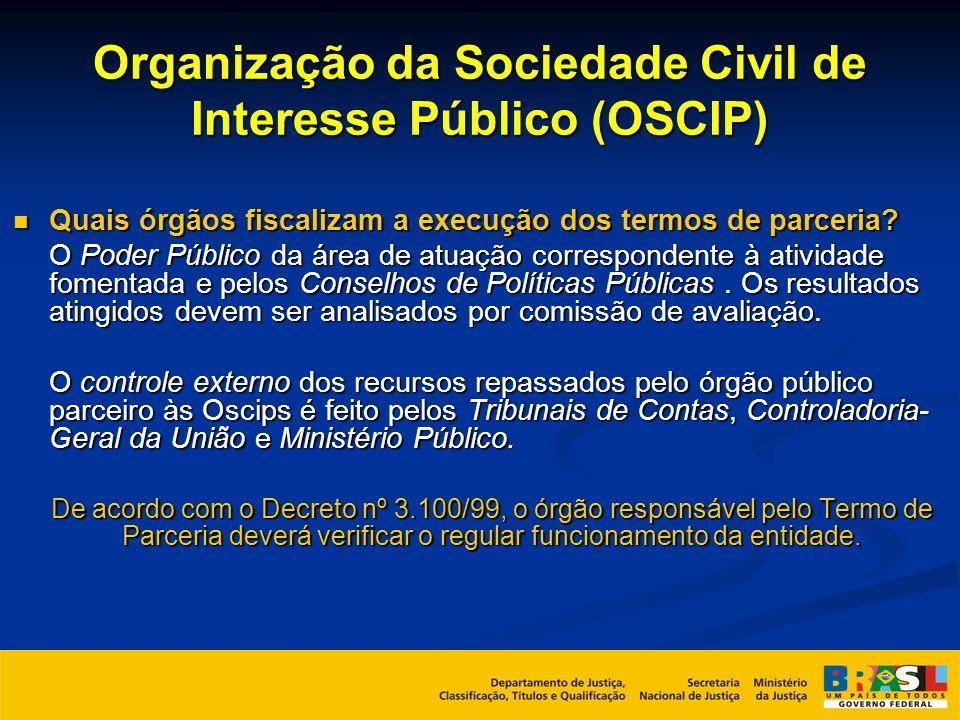 Organização da Sociedade Civil de Interesse Público (OSCIP) Quais órgãos fiscalizam a execução dos termos de parceria? Quais órgãos fiscalizam a execu