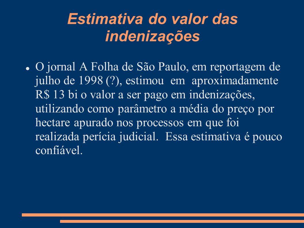 Estimativa do valor das indenizações O jornal A Folha de São Paulo, em reportagem de julho de 1998 (?), estimou em aproximadamente R$ 13 bi o valor a