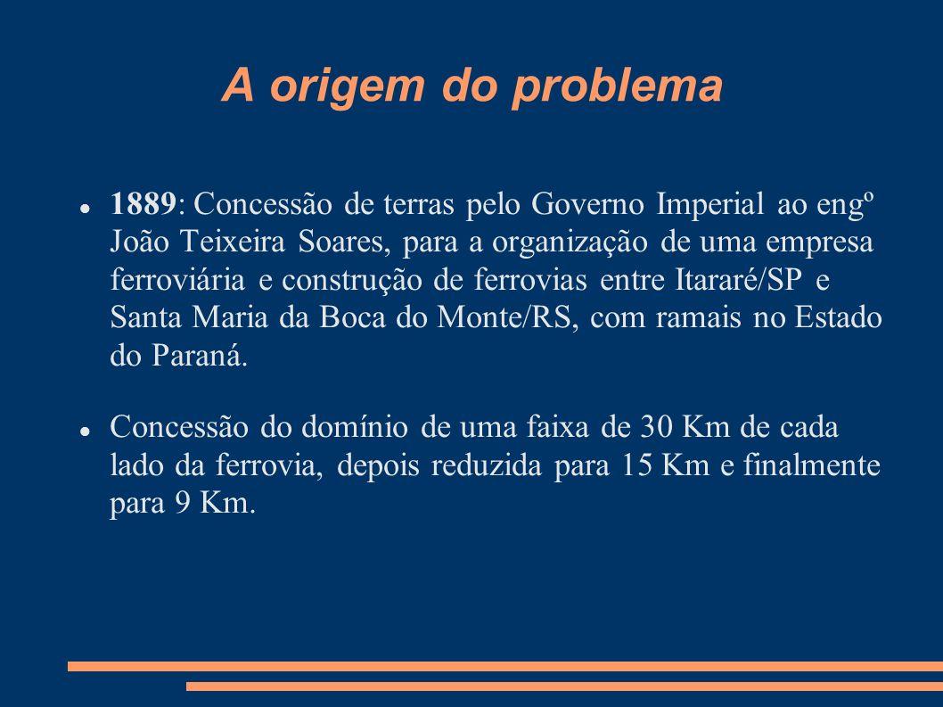 A origem do problema 1889: Concessão de terras pelo Governo Imperial ao engº João Teixeira Soares, para a organização de uma empresa ferroviária e con