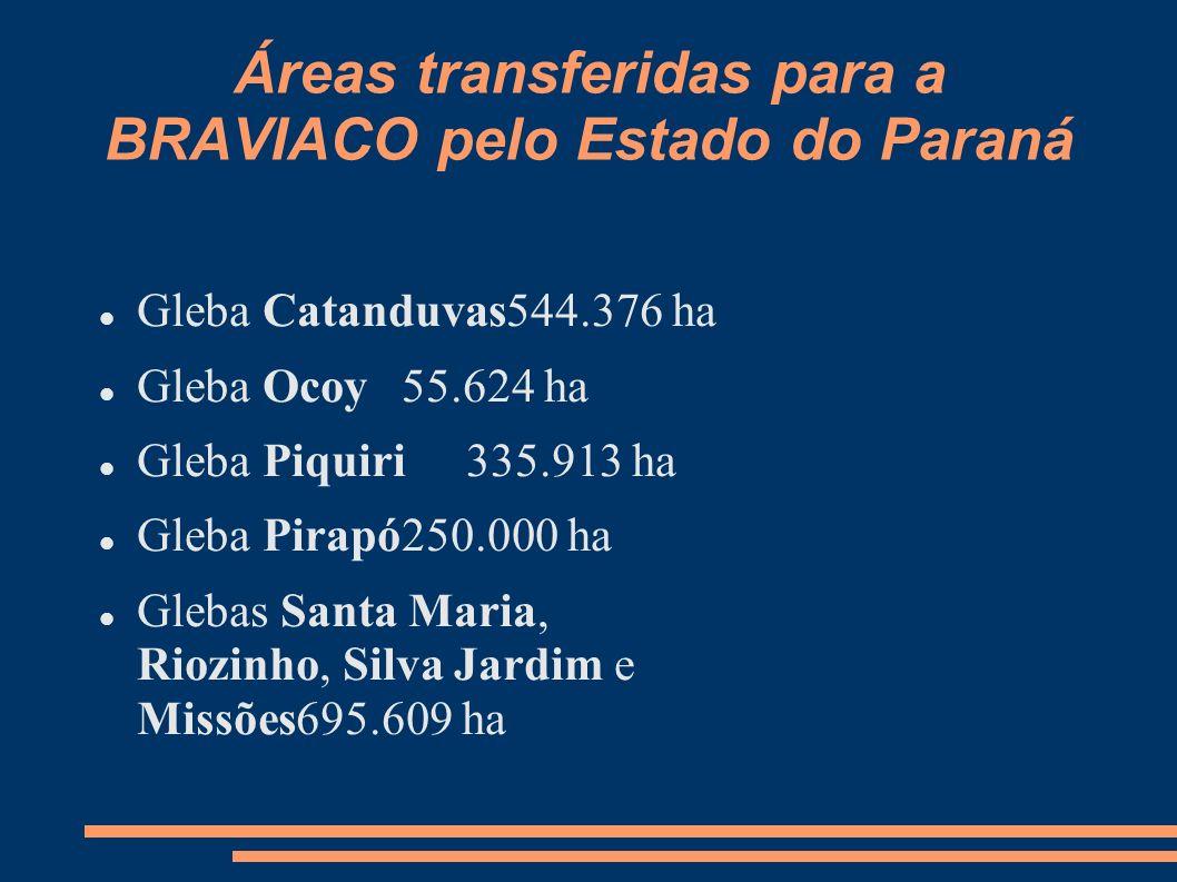 Áreas transferidas para a BRAVIACO pelo Estado do Paraná Gleba Catanduvas544.376 ha Gleba Ocoy 55.624 ha Gleba Piquiri 335.913 ha Gleba Pirapó250.000