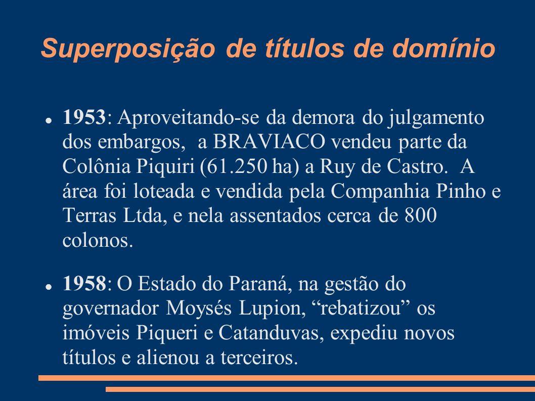 Superposição de títulos de domínio 1953: Aproveitando-se da demora do julgamento dos embargos, a BRAVIACO vendeu parte da Colônia Piquiri (61.250 ha)