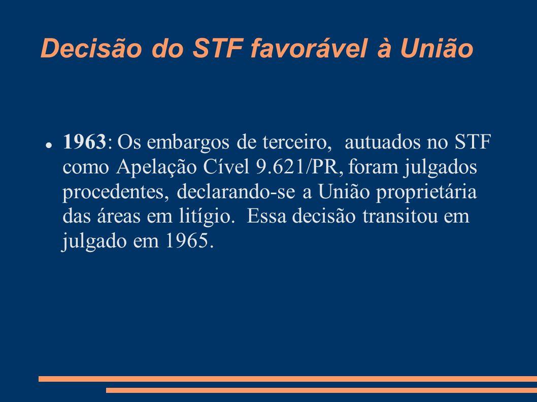 Decisão do STF favorável à União 1963: Os embargos de terceiro, autuados no STF como Apelação Cível 9.621/PR, foram julgados procedentes, declarando-s