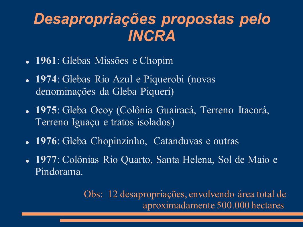 Desapropriações propostas pelo INCRA 1961: Glebas Missões e Chopim 1974: Glebas Rio Azul e Piquerobi (novas denominações da Gleba Piqueri) 1975: Gleba