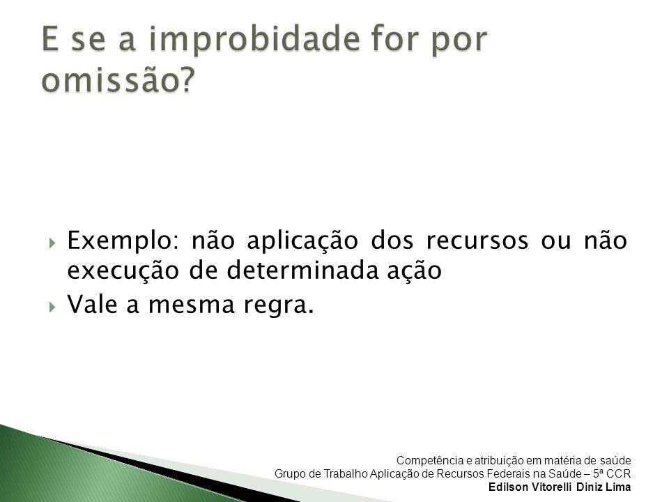 Competência e atribuição em matéria de saúde Grupo de Trabalho Aplicação de Recursos Federais na Saúde – 5ª CCR Edilson Vitorelli Diniz Lima Exemplo: