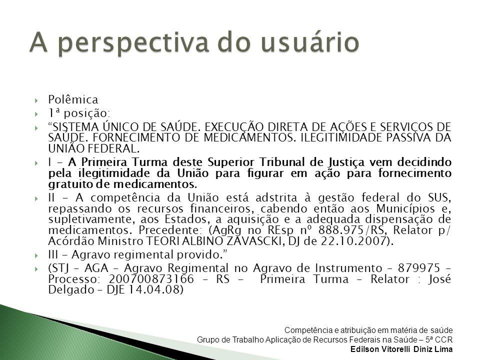 Competência e atribuição em matéria de saúde Grupo de Trabalho Aplicação de Recursos Federais na Saúde – 5ª CCR Edilson Vitorelli Diniz Lima Polêmica