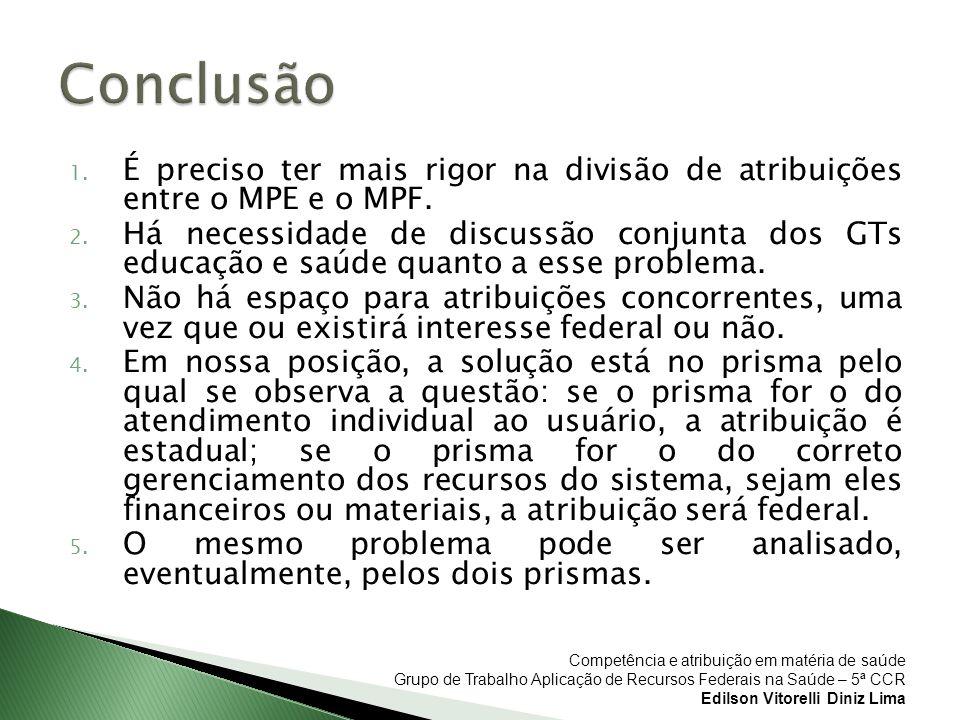 Competência e atribuição em matéria de saúde Grupo de Trabalho Aplicação de Recursos Federais na Saúde – 5ª CCR Edilson Vitorelli Diniz Lima 1. É prec