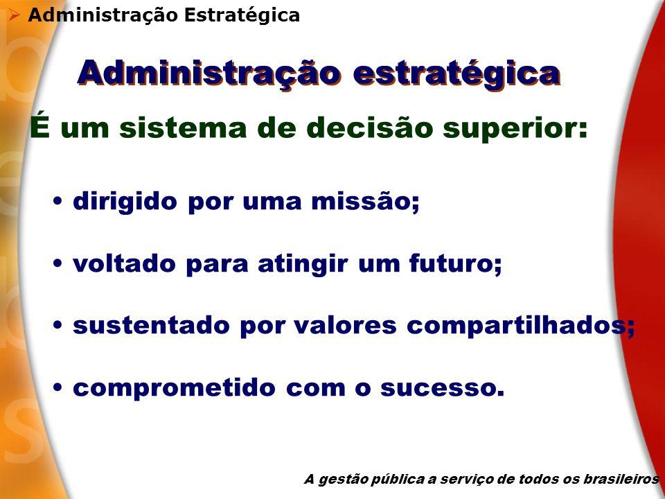 Administração estratégica dirigido por uma missão; voltado para atingir um futuro; sustentado por valores compartilhados; comprometido com o sucesso.