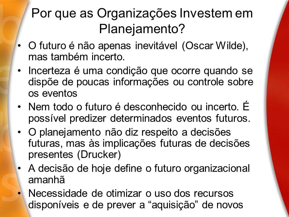 Por que as Organizações Investem em Planejamento? O futuro é não apenas inevitável (Oscar Wilde), mas também incerto. Incerteza é uma condição que oco