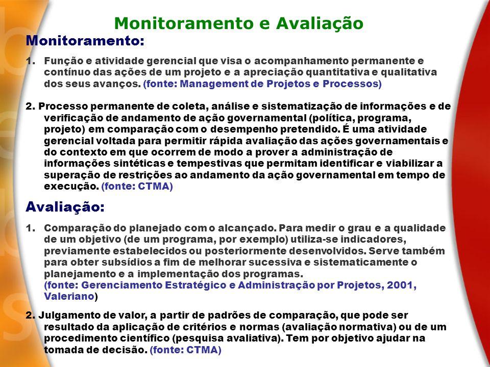 Monitoramento e Avaliação Monitoramento: 1.Função e atividade gerencial que visa o acompanhamento permanente e contínuo das ações de um projeto e a ap