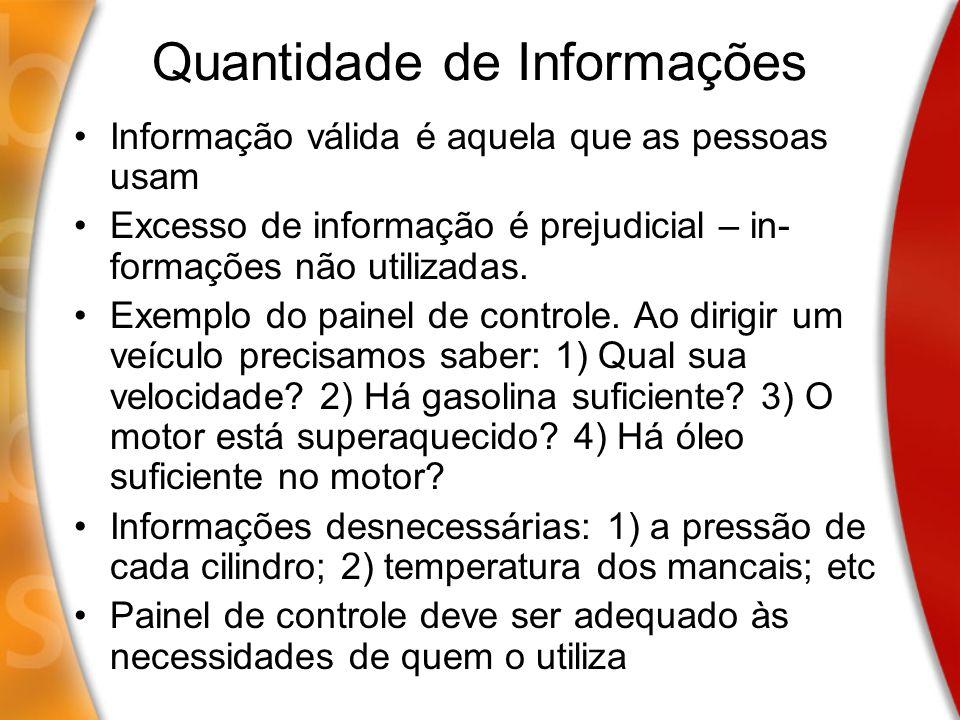 Quantidade de Informações Informação válida é aquela que as pessoas usam Excesso de informação é prejudicial – in- formações não utilizadas. Exemplo d