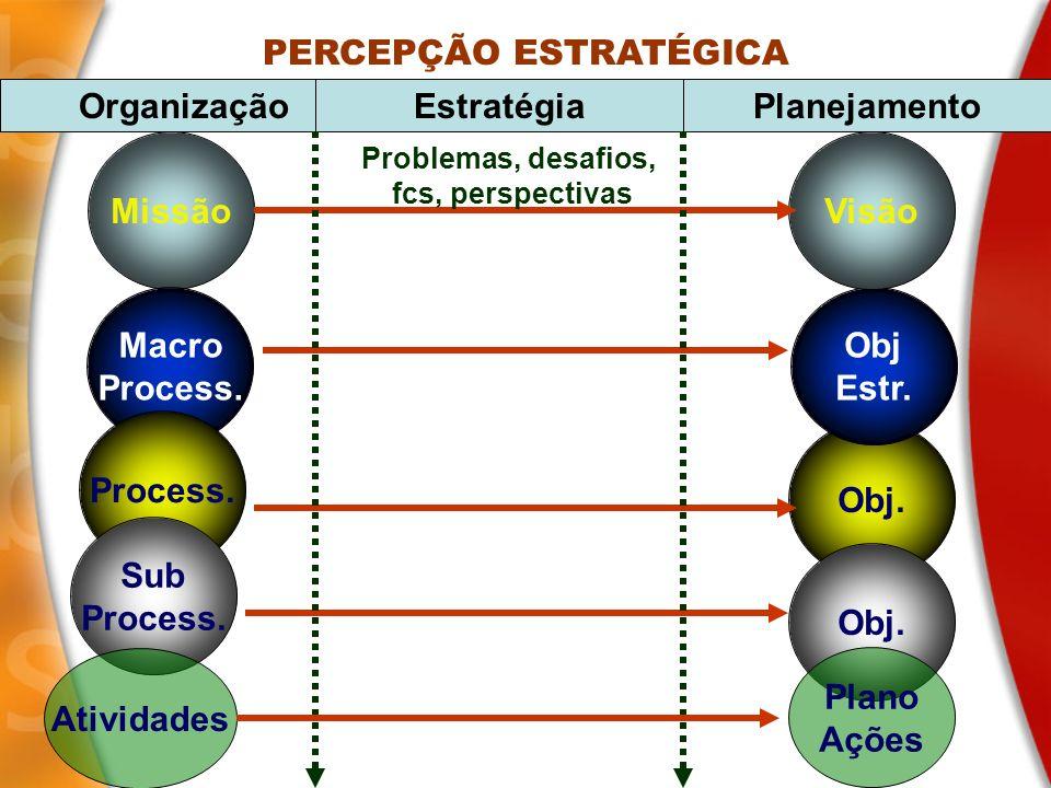 Missão Macro Process. Obj. Obj Estr. Visão PERCEPÇÃO ESTRATÉGICA OrganizaçãoEstratégiaPlanejamento Sub Process. Obj. Problemas, desafios, fcs, perspec