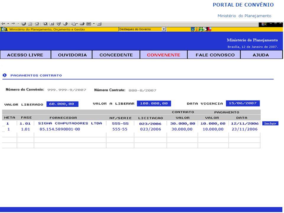 PORTAL DE CONVÊNIO Ministério do Planejamento 1 1.01 85.154.5890001-00 555-55 023/2006 30.000,00 10.000,00 23/11/2006