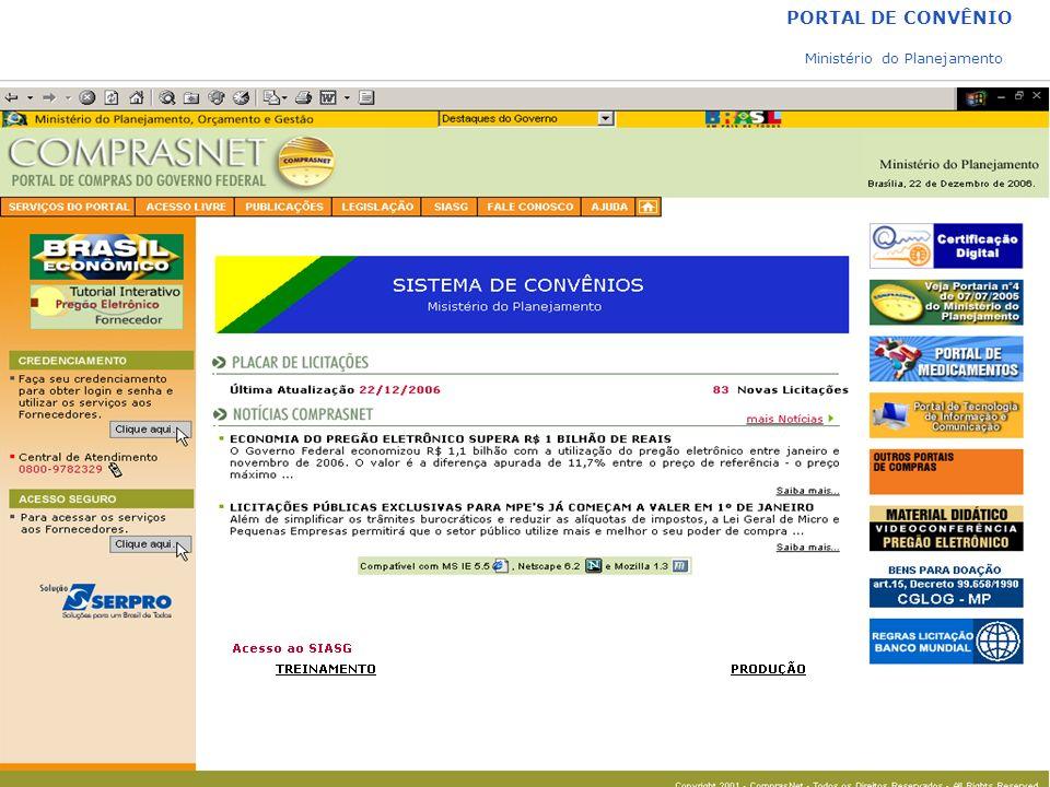 PORTAL DE CONVÊNIO Ministério do Planejamento Para acesso restrito
