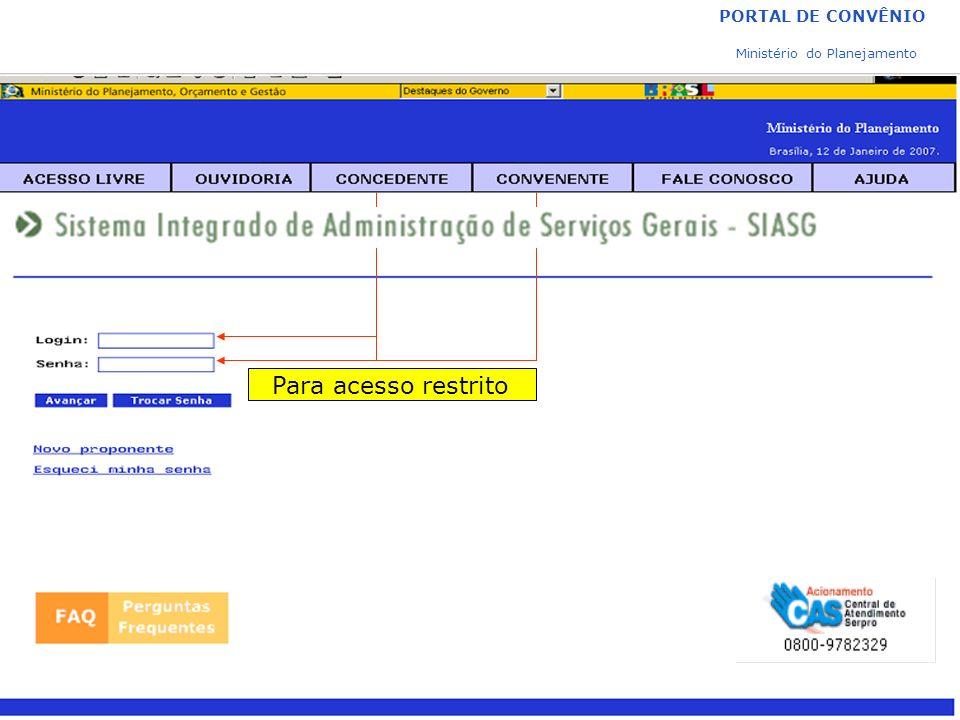 PORTAL DE CONVÊNIO Ministério do Planejamento