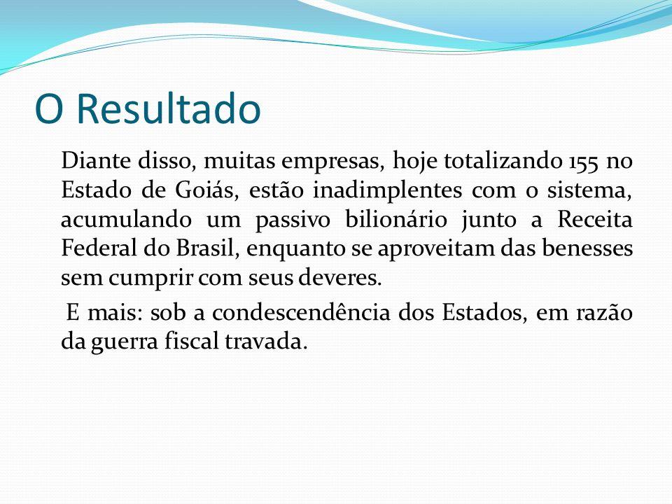 O Resultado Diante disso, muitas empresas, hoje totalizando 155 no Estado de Goiás, estão inadimplentes com o sistema, acumulando um passivo bilionári