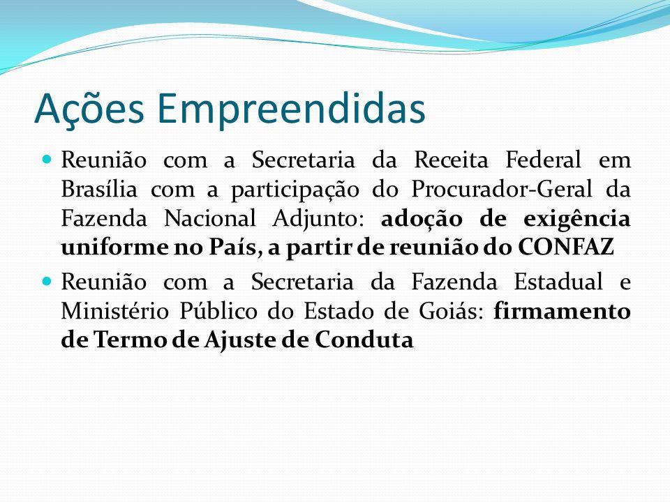 Ações Empreendidas Reunião com a Secretaria da Receita Federal em Brasília com a participação do Procurador-Geral da Fazenda Nacional Adjunto: adoção