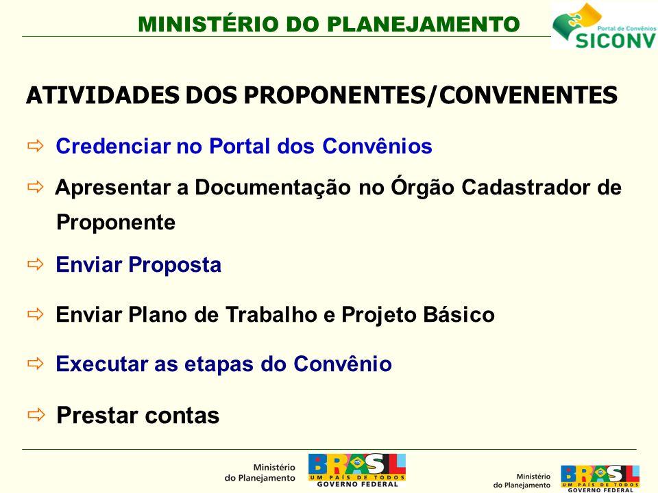 MINISTÉRIO DO PLANEJAMENTO ATIVIDADES DOS PROPONENTES/CONVENENTES Credenciar no Portal dos Convênios Apresentar a Documentação no Órgão Cadastrador de