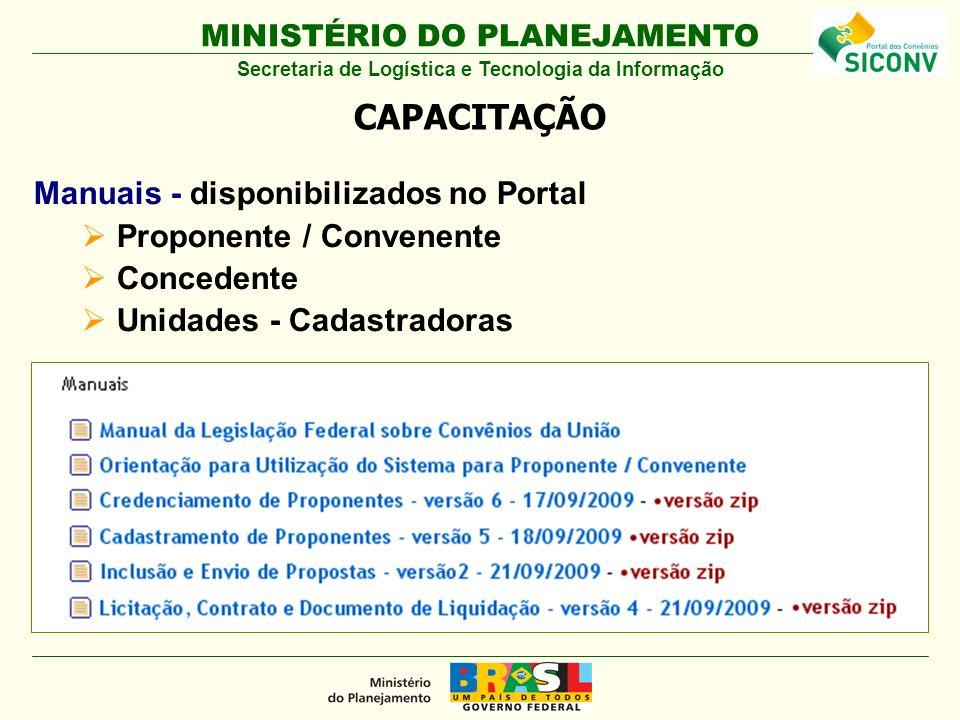 MINISTÉRIO DO PLANEJAMENTO Manuais - disponibilizados no Portal Proponente / Convenente Concedente Unidades - Cadastradoras CAPACITAÇÃO Secretaria de Logística e Tecnologia da Informação