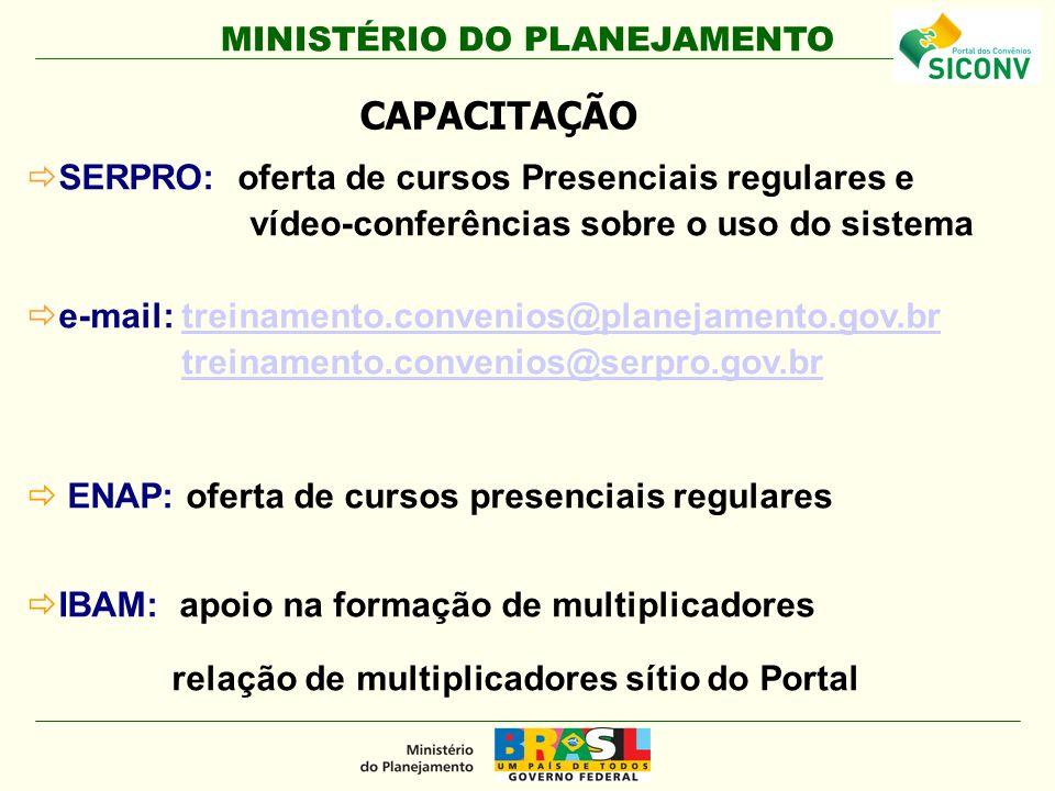 MINISTÉRIO DO PLANEJAMENTO SERPRO: oferta de cursos Presenciais regulares e vídeo-conferências sobre o uso do sistema e-mail: treinamento.convenios@pl