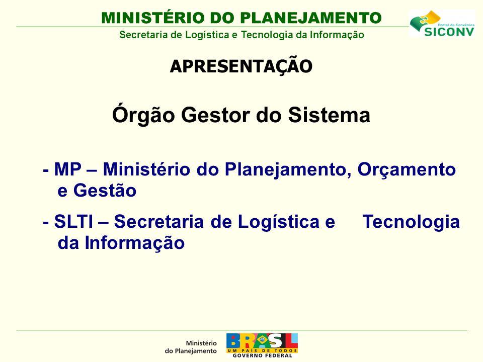 MINISTÉRIO DO PLANEJAMENTO Órgão Gestor do Sistema - MP – Ministério do Planejamento, Orçamento e Gestão - SLTI – Secretaria de Logística e Tecnologia