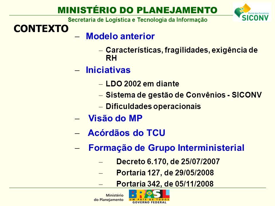 MINISTÉRIO DO PLANEJAMENTO Modelo anterior – Características, fragilidades, exigência de RH Iniciativas – LDO 2002 em diante – Sistema de gestão de Co