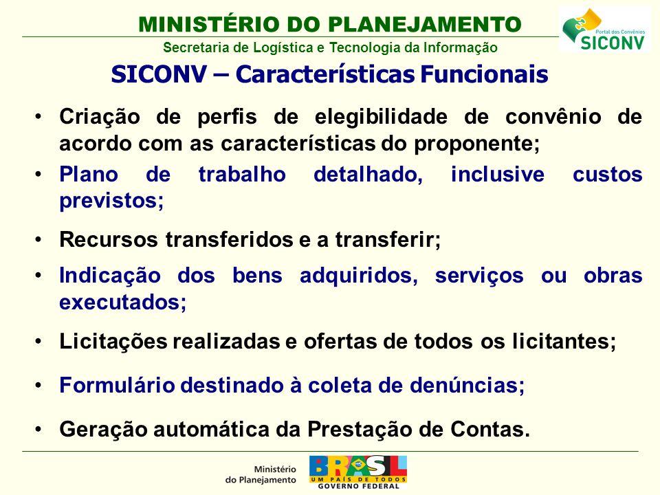 MINISTÉRIO DO PLANEJAMENTO Criação de perfis de elegibilidade de convênio de acordo com as características do proponente; Plano de trabalho detalhado,