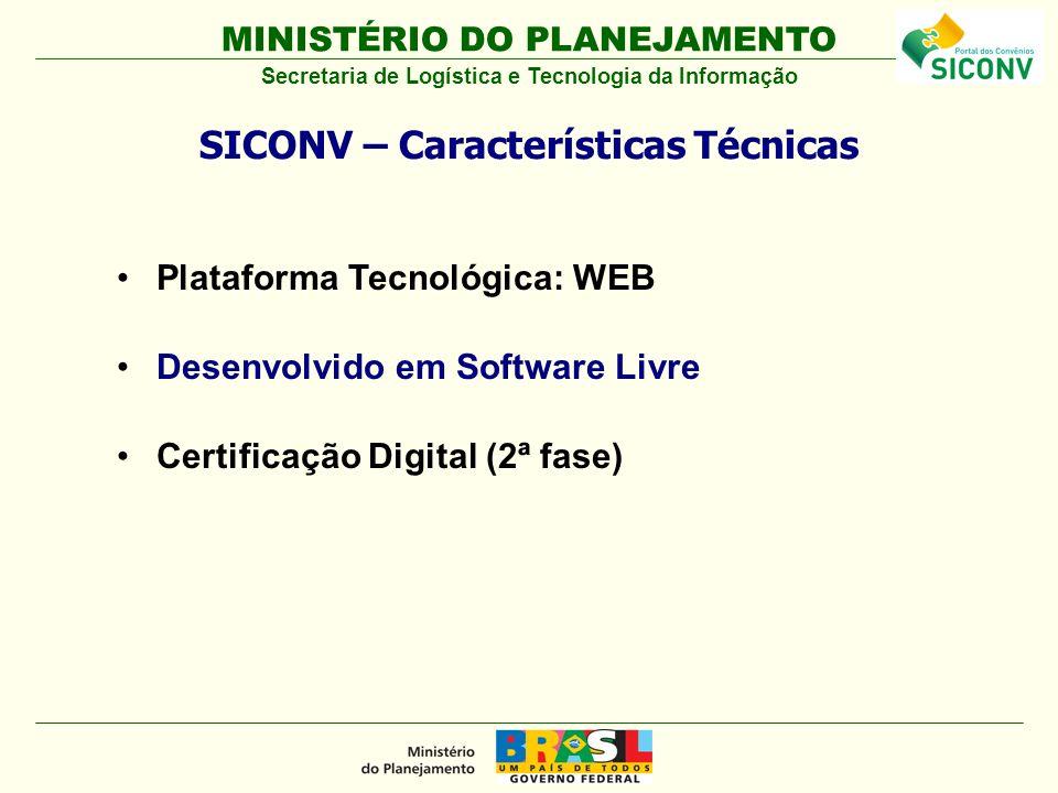 MINISTÉRIO DO PLANEJAMENTO Plataforma Tecnológica: WEB Desenvolvido em Software Livre Certificação Digital (2ª fase) SICONV – Características Técnicas Secretaria de Logística e Tecnologia da Informação