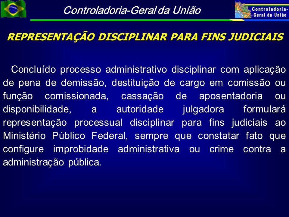 Controladoria-Geral da União REPRESENTAÇÃO DISCIPLINAR PARA FINS JUDICIAIS Concluído processo administrativo disciplinar com aplicação de pena de demi