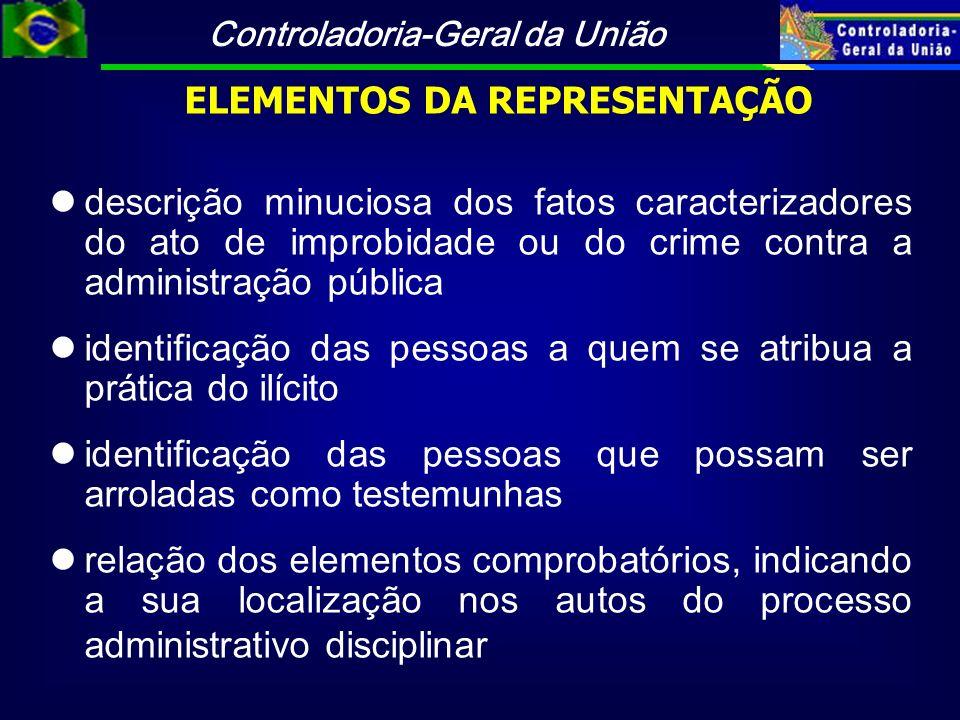 Controladoria-Geral da União ELEMENTOS DA REPRESENTAÇÃO descrição minuciosa dos fatos caracterizadores do ato de improbidade ou do crime contra a admi