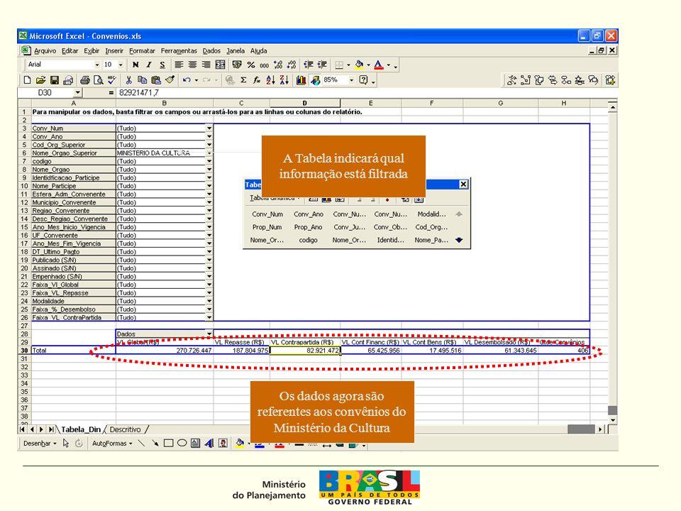 A Tabela indicará qual informação está filtrada Os dados agora são referentes aos convênios do Ministério da Cultura