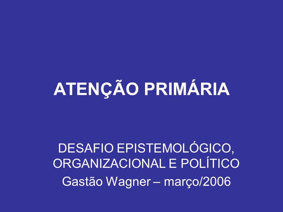 ATENÇÃO PRIMÁRIA DESAFIO EPISTEMOLÓGICO, ORGANIZACIONAL E POLÍTICO Gastão Wagner – março/2006