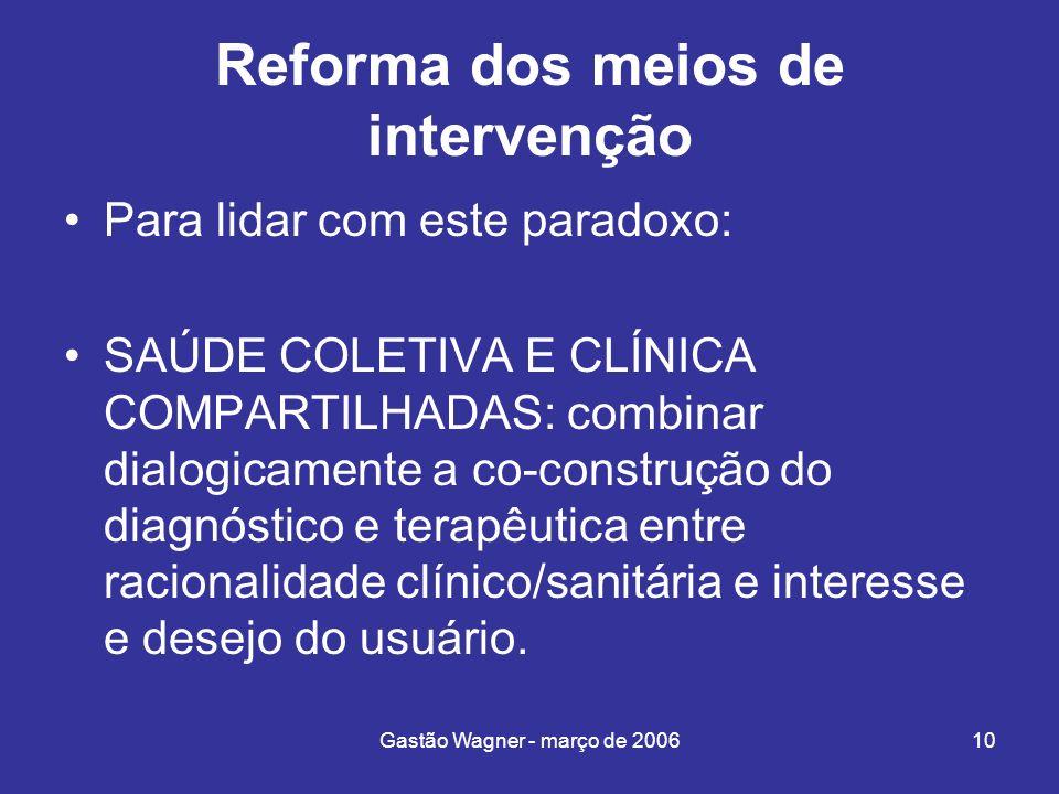 Gastão Wagner - março de 200610 Reforma dos meios de intervenção Para lidar com este paradoxo: SAÚDE COLETIVA E CLÍNICA COMPARTILHADAS: combinar dialo