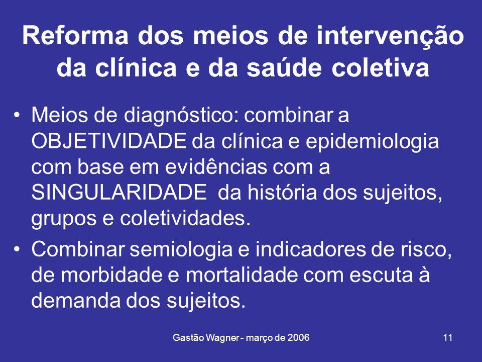 Gastão Wagner - março de 200611 Reforma dos meios de intervenção da clínica e da saúde coletiva Meios de diagnóstico: combinar a OBJETIVIDADE da clíni