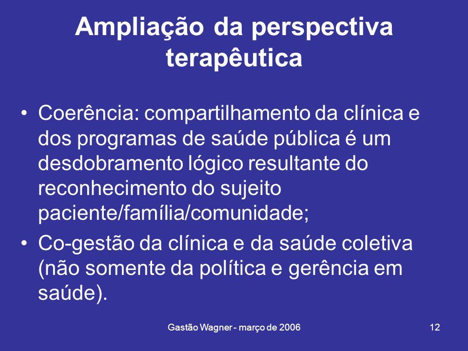 Gastão Wagner - março de 200612 Ampliação da perspectiva terapêutica Coerência: compartilhamento da clínica e dos programas de saúde pública é um desd