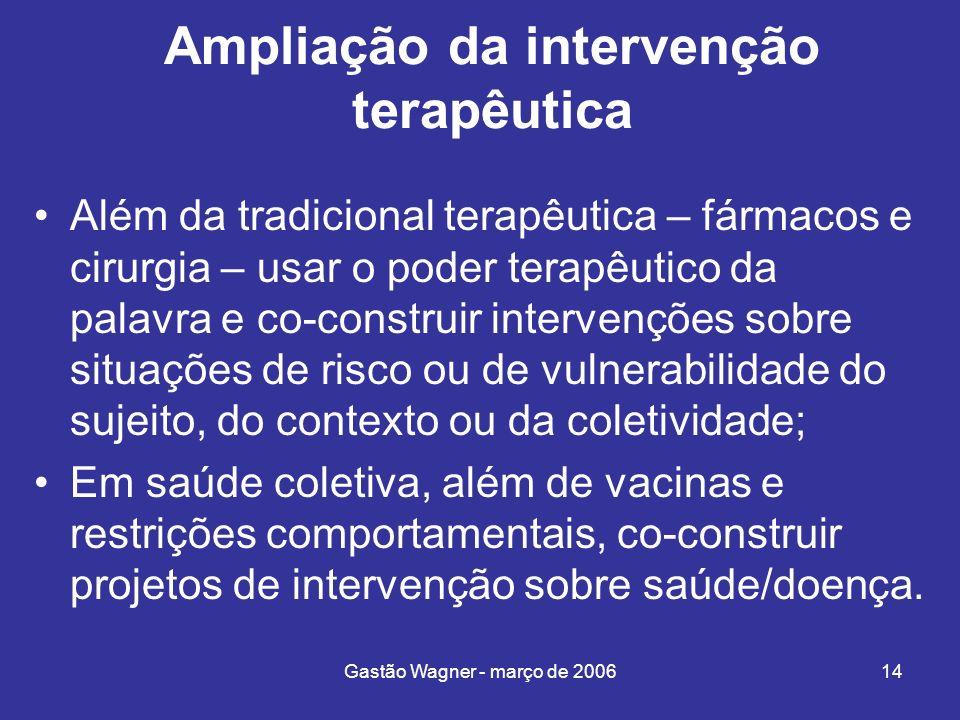 Gastão Wagner - março de 200614 Ampliação da intervenção terapêutica Além da tradicional terapêutica – fármacos e cirurgia – usar o poder terapêutico