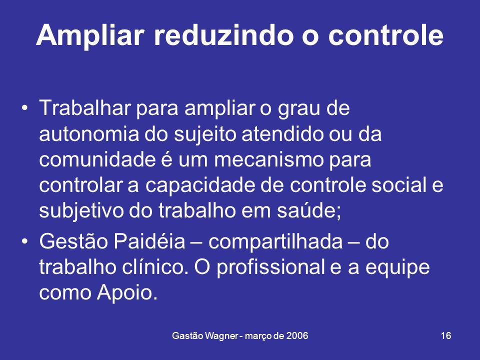 Gastão Wagner - março de 200616 Ampliar reduzindo o controle Trabalhar para ampliar o grau de autonomia do sujeito atendido ou da comunidade é um meca