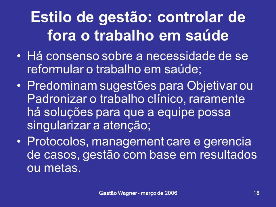 Gastão Wagner - março de 200618 Estilo de gestão: controlar de fora o trabalho em saúde Há consenso sobre a necessidade de se reformular o trabalho em