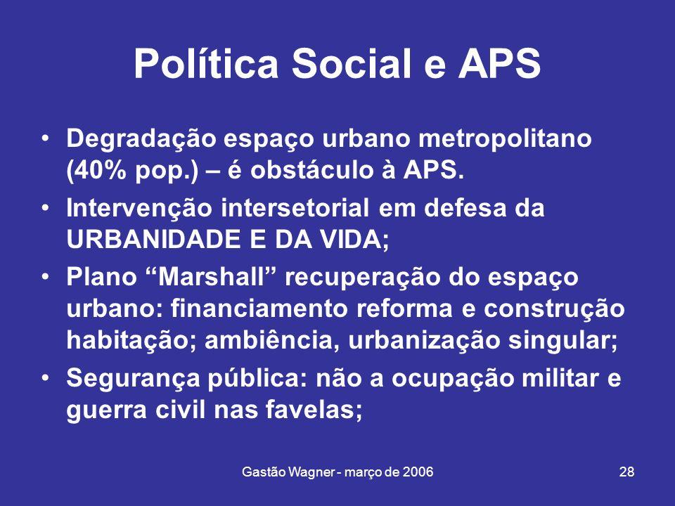 Gastão Wagner - março de 200628 Política Social e APS Degradação espaço urbano metropolitano (40% pop.) – é obstáculo à APS. Intervenção intersetorial
