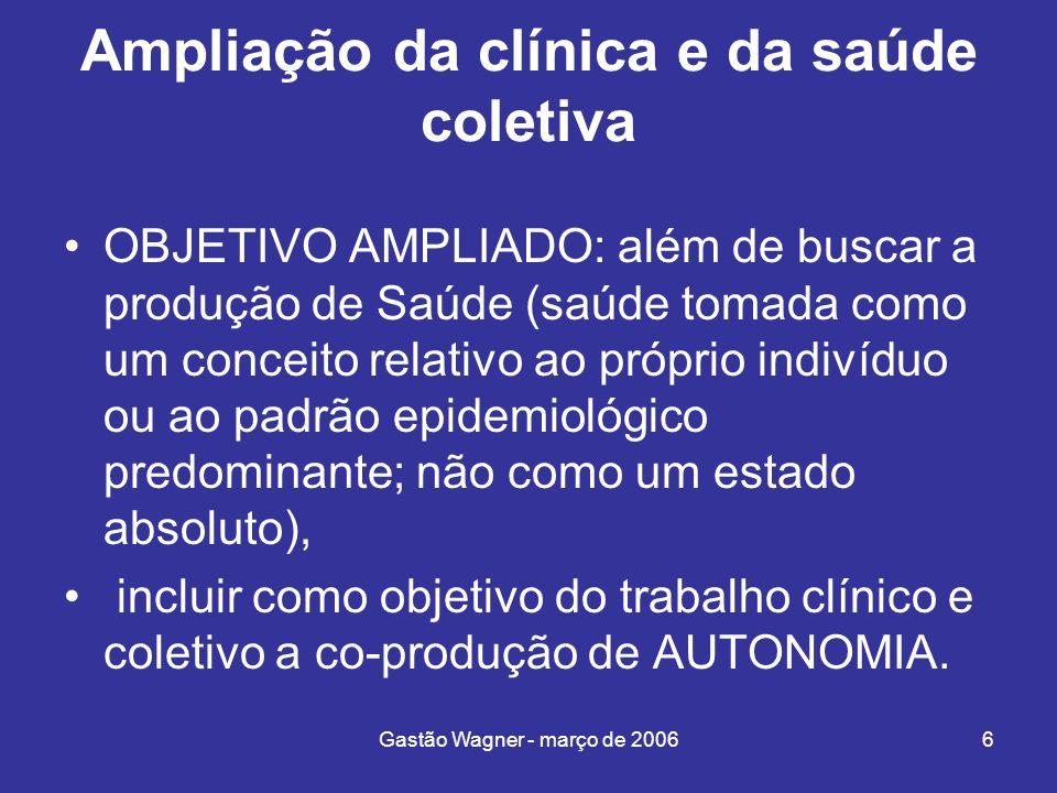 Gastão Wagner - março de 20066 Ampliação da clínica e da saúde coletiva OBJETIVO AMPLIADO: além de buscar a produção de Saúde (saúde tomada como um co