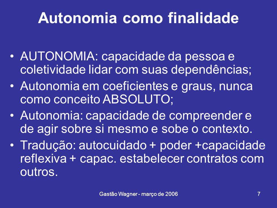 Gastão Wagner - março de 20067 Autonomia como finalidade AUTONOMIA: capacidade da pessoa e coletividade lidar com suas dependências; Autonomia em coef