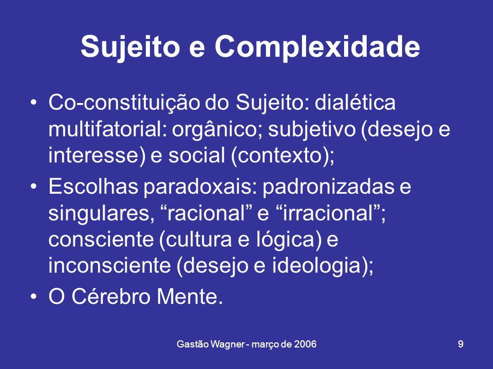 Gastão Wagner - março de 20069 Sujeito e Complexidade Co-constituição do Sujeito: dialética multifatorial: orgânico; subjetivo (desejo e interesse) e