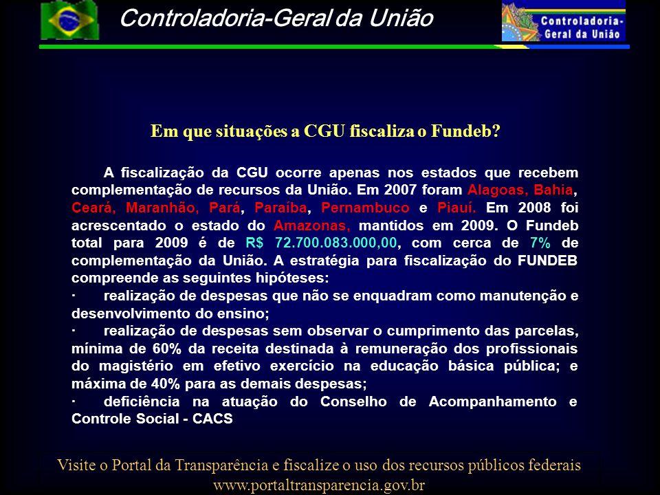 Controladoria-Geral da União Visite o Portal da Transparência e fiscalize o uso dos recursos públicos federais www.portaltransparencia.gov.br Em que situações a CGU fiscaliza o Fundeb.