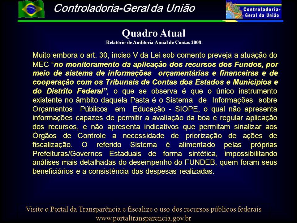 Controladoria-Geral da União Visite o Portal da Transparência e fiscalize o uso dos recursos públicos federais www.portaltransparencia.gov.br Quadro A